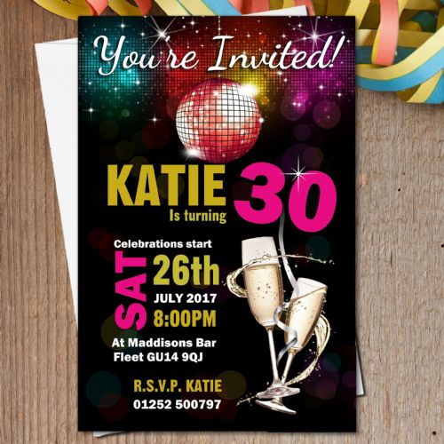 10 Personalised Disco Champagne Birthday Party Invitations N184